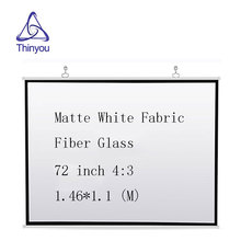 Thinyou Matte White Fabric Fiber Glass Projector Screen 72 inch 4:3 for Projector Outdoor Indoor for Home Theater Full HD 3D