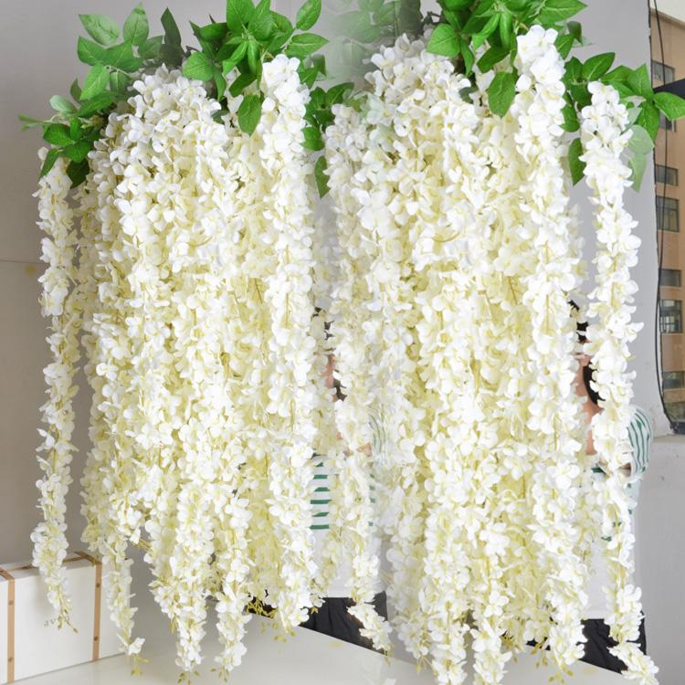 Extra long white artificial silk hydrangea flower wisteria garland 16 meter long elegant artificial silk flower wisteria vine rattan for wedding centerpieces decorations bouquet garland home ornament 2015 new arrival mightylinksfo
