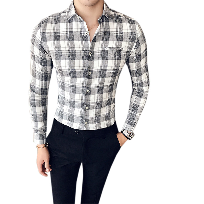 Dressed Plaid Man Shirt Long Sleeves Autumn Spring Mens Plaid Casual Shirts Camisas Masculina Manga Longa Poly Rayon Shirt ...