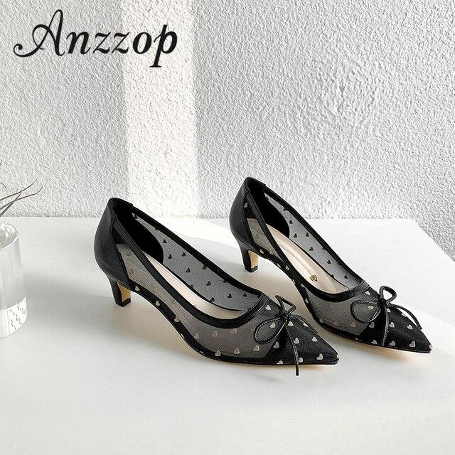 sports shoes ffd83 0bb34 Baotou coole schuhe weibliche hohe qualität 2019 neue sommer mesh garn herz  design spitzen wilde mode ins flut dick mit high heels