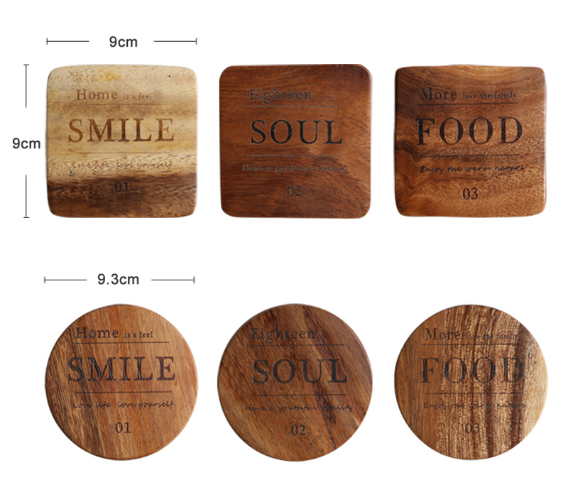 Mug Coaster Round Square Wood Cup Coaster Table Mat Kitchen Placemat Cup Pad Glass Teapot Drink Coasters Table Accessories (11)