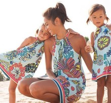 sand beach mommy and me clothes family look print mother daughter dresses mom mum and girl matching dress clothes outfits family