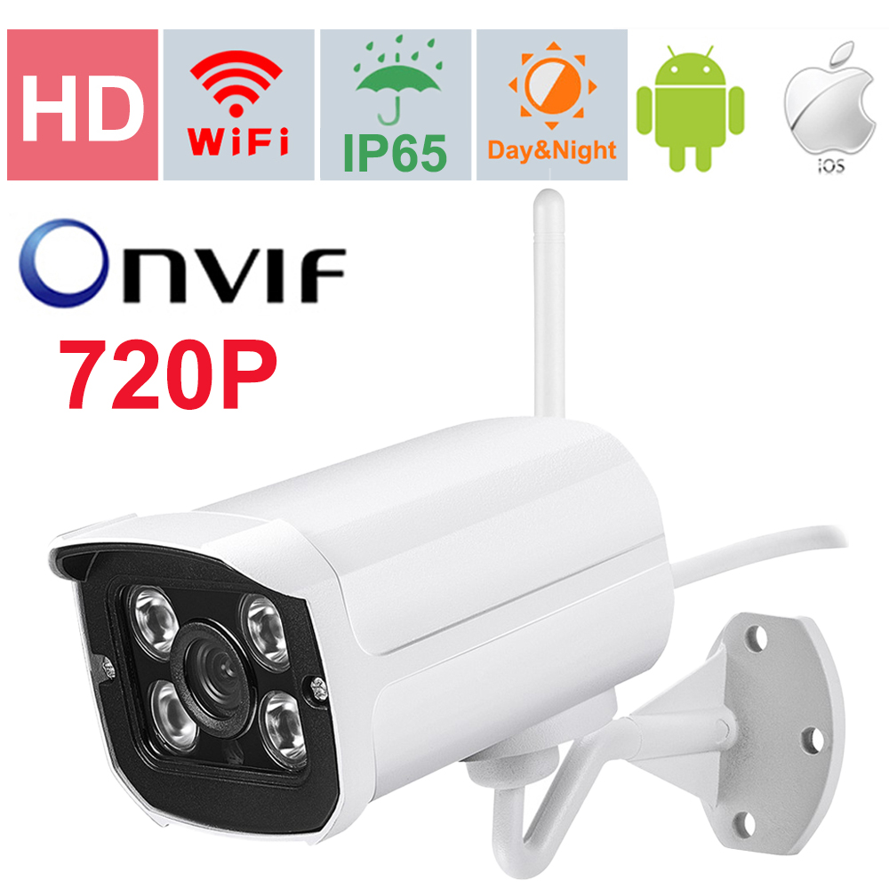 64G TF card slot 1.0mp ip camera wireless 720P wifi security system surveillance hd onvif  cctv Waterproof Outdoor  1280*720P wifi ipc 720p 1280 720p household camera onvif with allbrand camera free shipping