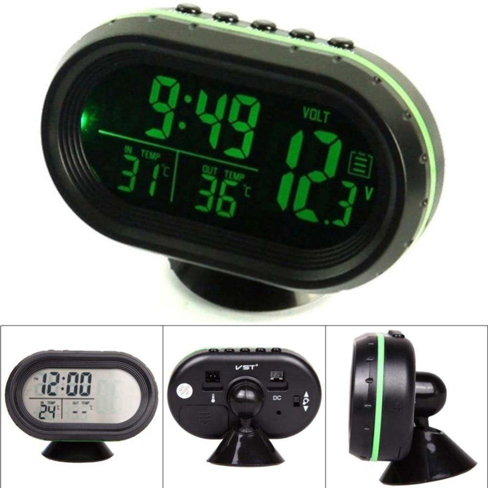 b38271571249 12 V 24 V 4 en 1 Digital Auto reloj termómetro de la batería de coche del  voltímetro del medidor de tensión de Monitor noctilucous congelar alerta