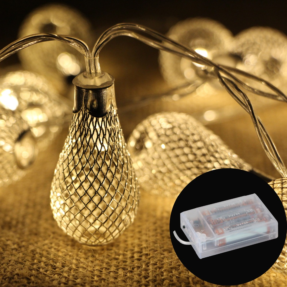 20led Battery Operation LED String Lights Metal Drip Christmas Lights Fairy Garland Wedding Bedroom Festival Party Decoration