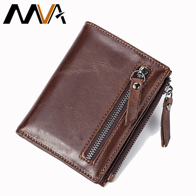 MVA Men Wallets Genuine Leather Wallet for Credit Card Holder Zip Small Wallet Man Leather Wallet Short Slim Coin Purse Men 604 dicihaya genuine leather men wallet soft purse coin pocket zipper short credit card holder wallets men black leather wallet