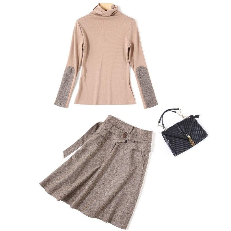 Col Robe Fit Multiflora Roulé Kaki Femme Mode Parti Longue Slim Doux Couleur Manches Femmes Hiver Plein vU50xqBw5