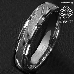 Image 2 - 6mm Tungsten Carbide Ring Silver leaf New Brushed Style Bridal ATOP Jewelry