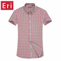 New Arrival Shirts Mens Fashion Cotton Plaid Shirt Short Sleeve Slim Fit Brand Design Casual shirts Cotton Camisa Masculina X083