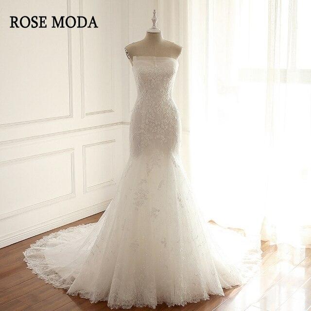 Rose Moda Delicate Lace Mermaid Wedding Dress 2018 Strapless Mermaid  Wedding Dresses Off Shoulder Lace Up Back Real Photos 3ef613034db9