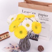 Artificial Sunflower Arrangements 5pcs/lot Real Touch PU Fake Flower Length 28cm Wedding Party Decoration Bouquet AQ218