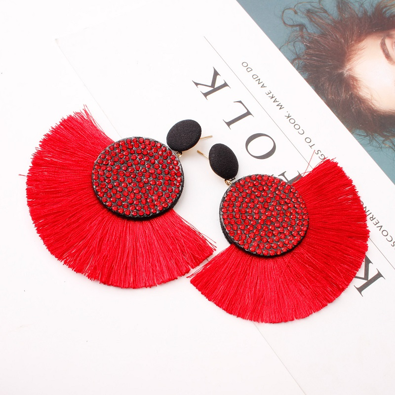 Exknl Fashion Tassel Vintage Statement Drop Earrings for Women Black Red Yellow Big Bohemian Dangle Fringe Earrings 19 Jewelry 13