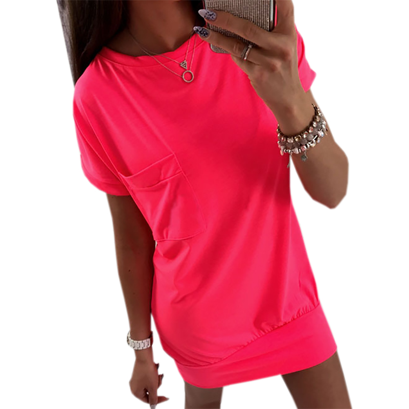 Mini Dress 2018 Casual Women Kawaii Backless Dresses Solid Sundress Female Short Sleeve O-neck Sexy New Plus Size GV808