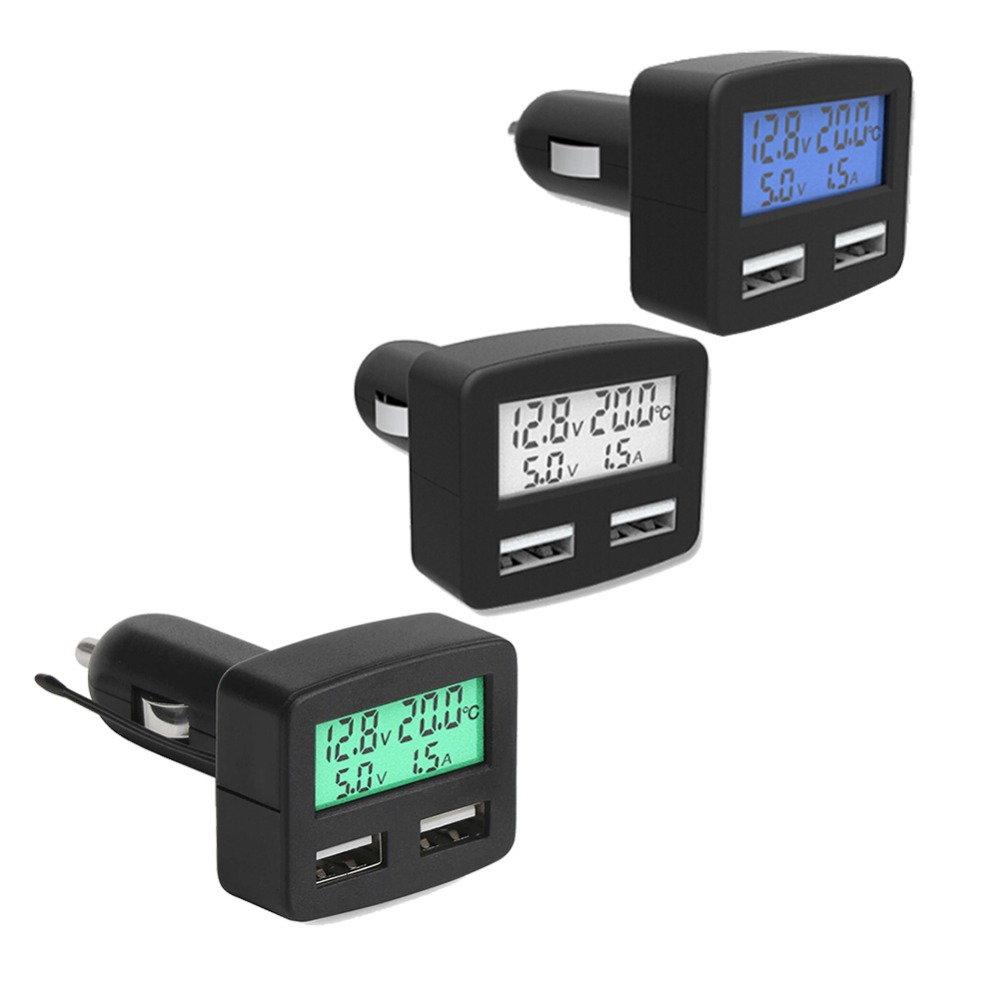 Multi-funktion Auto Ladegerät 3A Handy Ladegerät mit Dual USB Ports 5-in-1 Voltmeter Amperemeter thermometer LCD Display