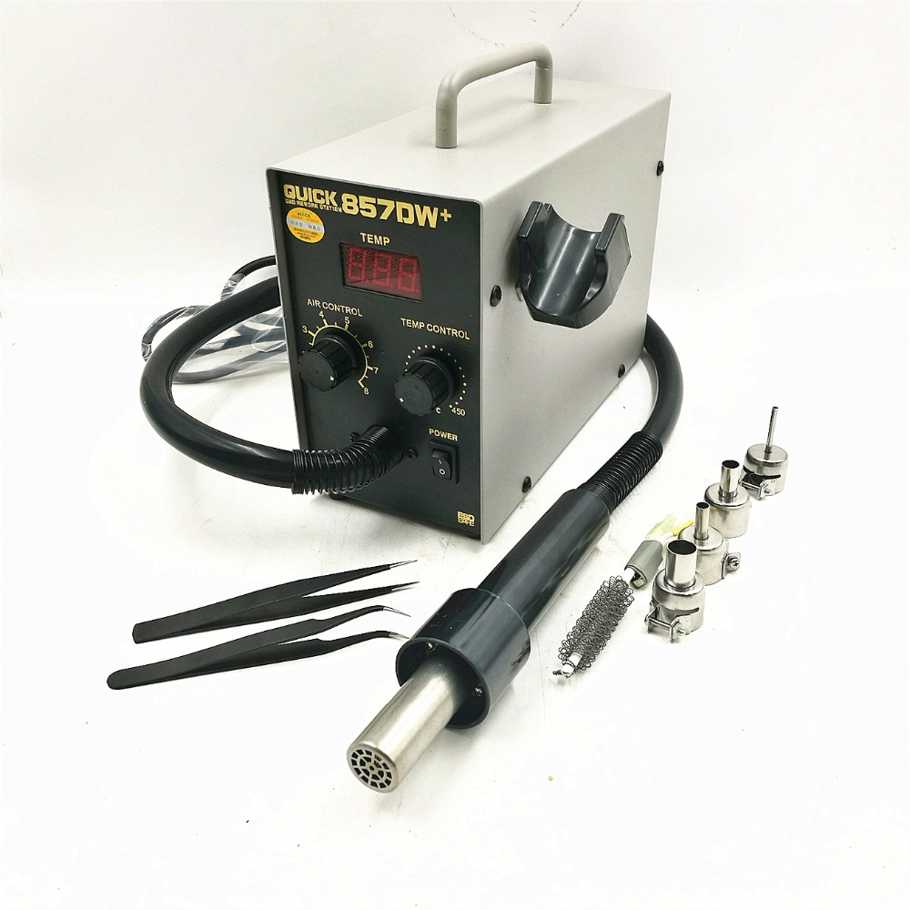 QUICK 857DW + Pistola de calor de aire caliente ajustable sin plomo con viento helicoidal Estación de retrabajo SMD de 580W con 4 boquillas de aire + calentador A1147