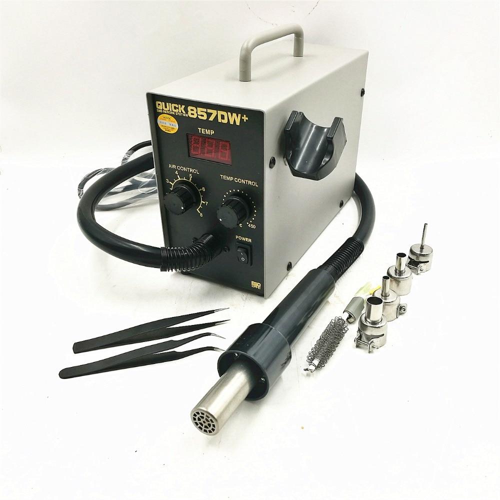 857DW QUICK 857DW + سرب گرم قابل تنظیم اسلحه گرم با هوای حلزونی 580W SMD ایستگاه کار با 4 نازل هوا + بخاری A1147