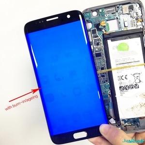Image 2 - Orijinal süper AMOLED Samsung S7 kenar G935F G935fd Burn in gölge Lcd ekran dokunmatik ekran Digitizer çerçeve ile 5.5