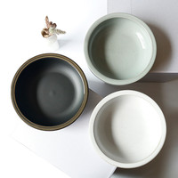 Ceramic Bowl Rice Ware Round Dish Simple Dinnerware Japanese Soup Noodles Bowl Kitchen Utensil Solid Color Tableware 6inch 1pcs
