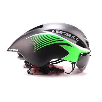 Nova 290g Aero TT Bicicleta Capacete Com óculos de Proteção Óculos de Ciclismo de Estrada de Bicicleta Capacete de Segurança Esportes Equitação Corrida Dos Homens Em- molde de Contra-relógio Capacete