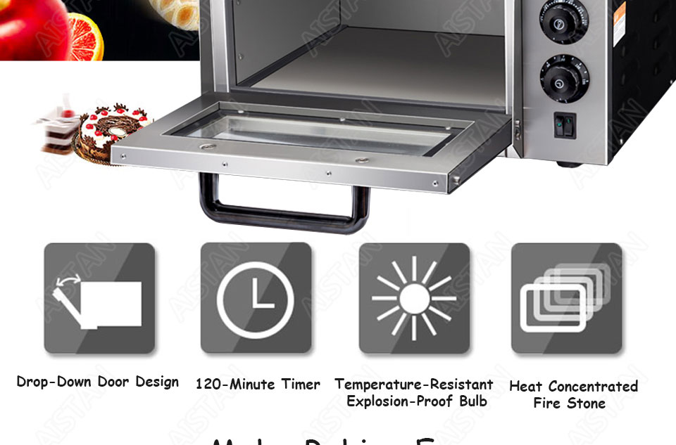 EP1AT electric stainless steel single layer higher chamber pizza oven with timer for baking bread, cake, pizza 2