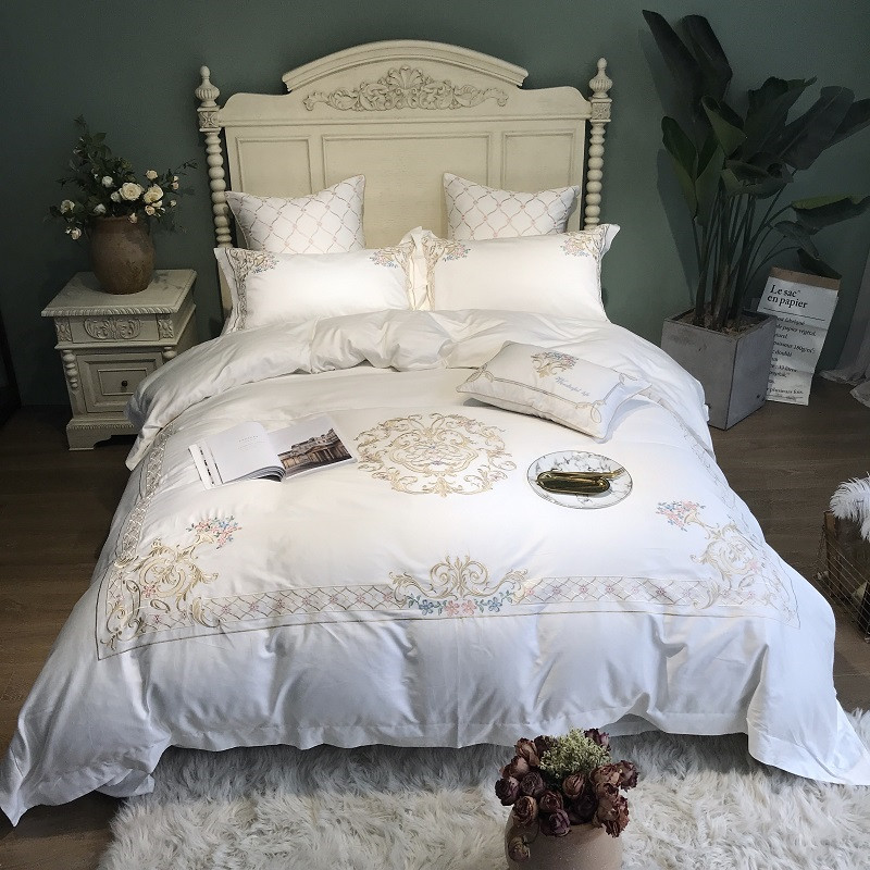 600TC Egyptian Cotton White Bedding Set Embroidery Duvet Cover Bed Set Queen king size Bed sheet