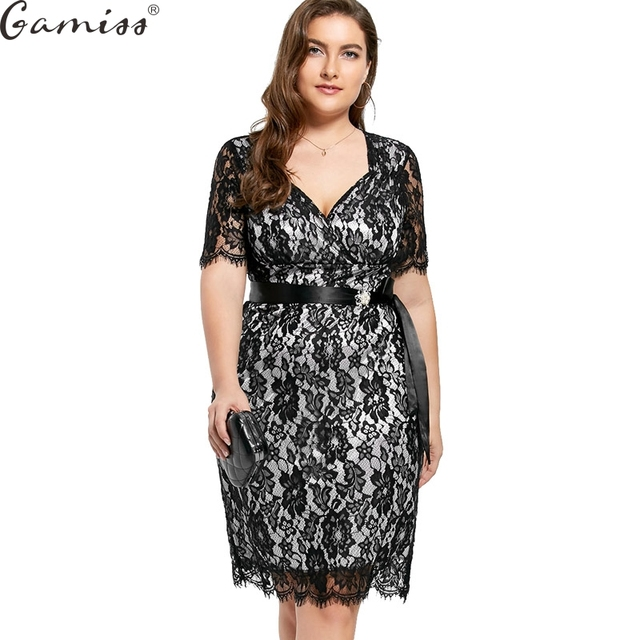 8a01d687970ce Gamiss Lace Plus Large Size Formal Party Dress Big Size Women Lace Elegant  Dress Women Evening Party Short Sleeve Clothing 5XL