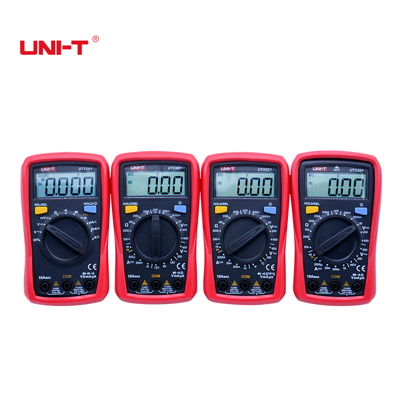 Digital Multimeter UT33A+/B+/C+/D+ Max voltage 600V Non-contact temperature tester with LCD backlight display