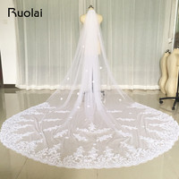 New One Layer 3M Ivory White Wedding Veils Lace Edge Flower Bridal Veil Soft Tulle Velos
