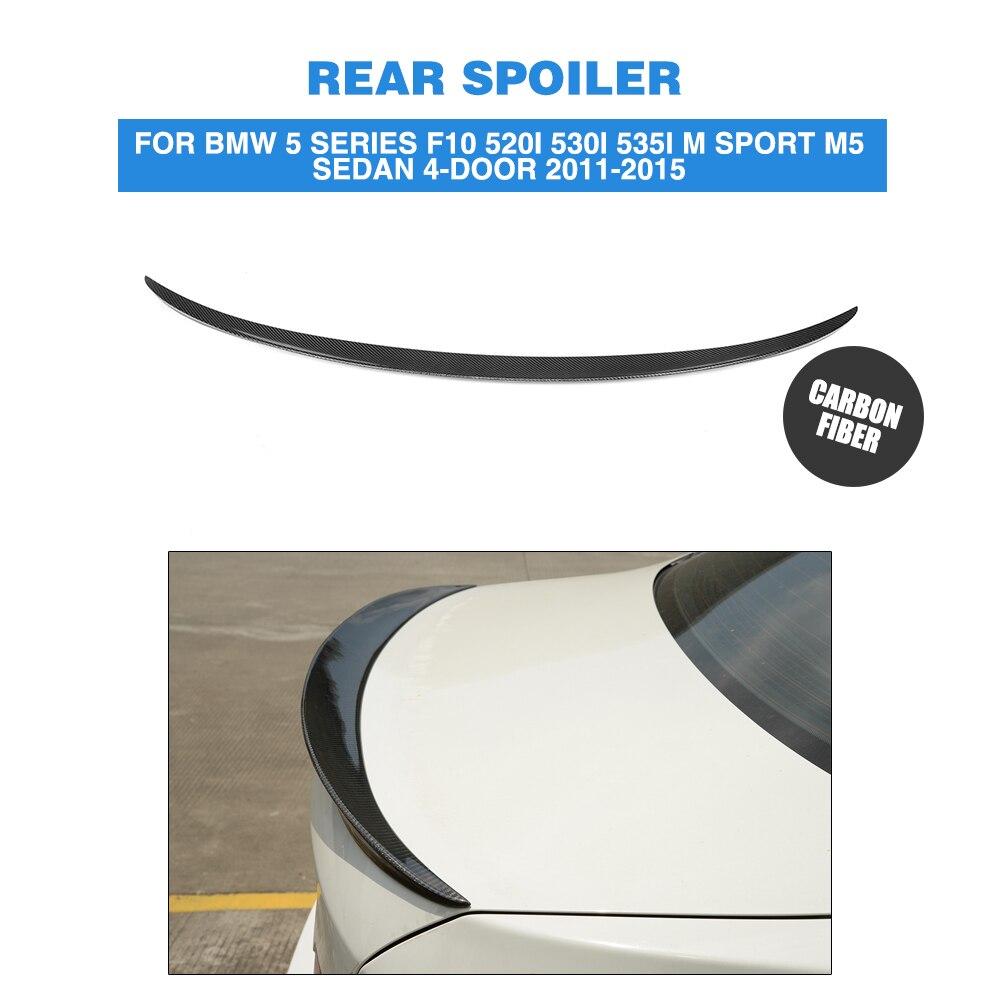 Rear Spoiler Trunk Boot Duck Wing For BMW 5 Series F10 520i 530i 535i M Sport M5 Sedan 4-Door 2011-2015 Carbon Fiber P Style