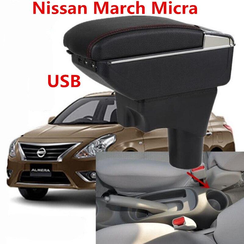 Pour Nissan March Micra K13 MK4 IV accoudoir boîte magasin central contenu boîte de rangement avec support de verre cendrier interface USB 2010-2017