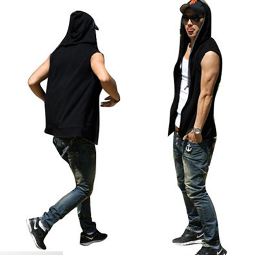 Solid Color Mens Vests Hooded Tied Sleeveless Red Blue Black Tops Summer Causal Hip Hop Streetwear Mens Tank Tops Size L-3XL