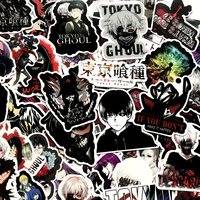 50pcs Japan Anime Tokyo Ghoul For Luggage Laptop Skateboard Bicycle Backpack Decal Pegatinas Toy Stickers For Children Gift F4 Stickers     -