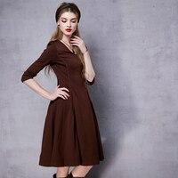 Artka Women S Autumn New Solid Color Casual A Line Dress Vinatge V Neck Three Quarter