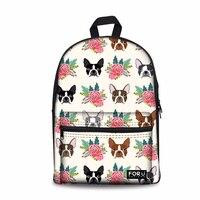 Customized Women Canvas Schoolbag Female Boston Terrier Printing Shoulder Bagpack for Kids Girl Bookbag Student School Backpack