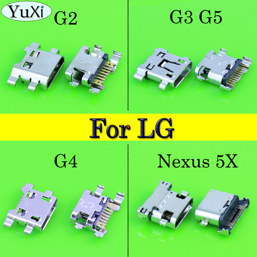 YuXi 2pcs/lot For LG Nexus 5X G2 G4 G5 G3 D850 D851 D855 VS985 LS990 Micro USB Charger Charging Connector Port Power Jack