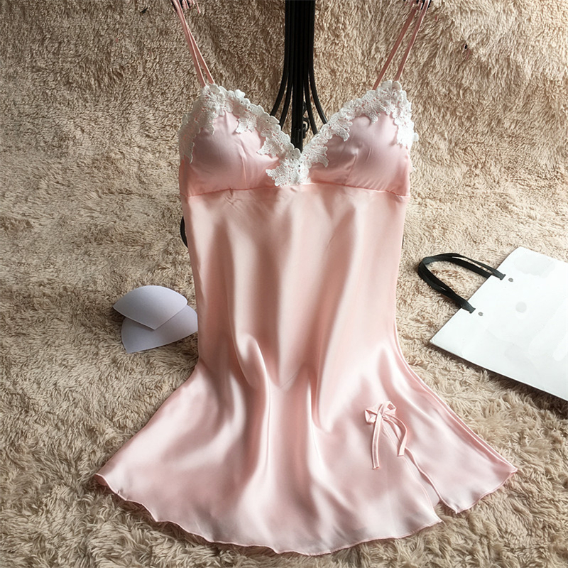 Pink Sexy Lace Suspender Skirt Sleepwear Summer Women Casual Nightdress New Nightgown Wedding Bride Bridesmaid Nightwear M-XXL