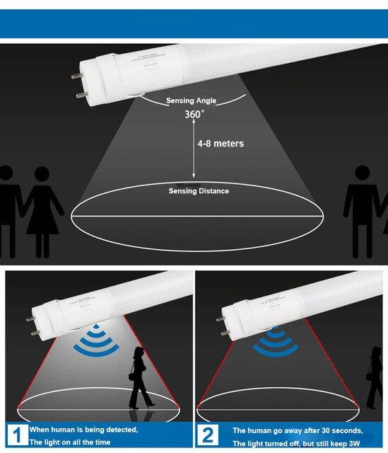 Led Tube capteur T8 avec Radar capteurs lumière lampe 4ft 1200mm lampe fluorescente 120cm 18w 220v 110V 6500k lumière du jour nature blanc