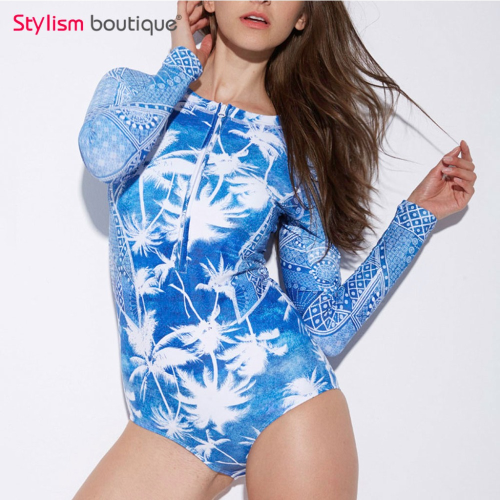 2018 Ethnic Patchwork One Piece Swimsuit Long Sleeves Rash Guard Women Surf Swimwear Women Rashguard Wetsuit Bathing Suit Shorts