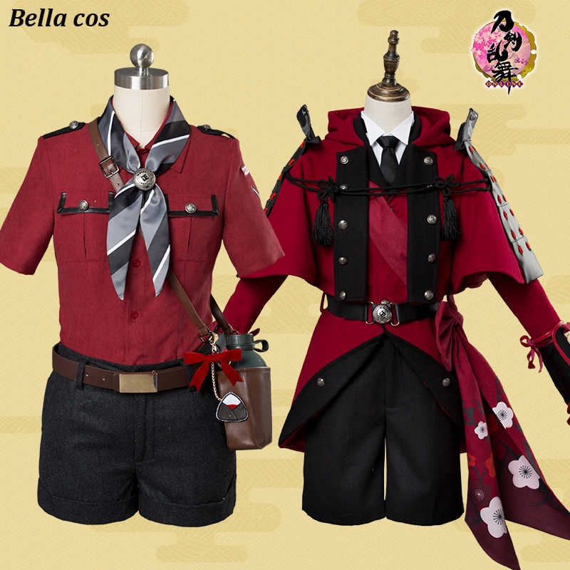 Touken Ranbu Online Hyuuga Masamune cosplay costume red uniform full set battle wear Carnival Masquerade Anime party outfits cos
