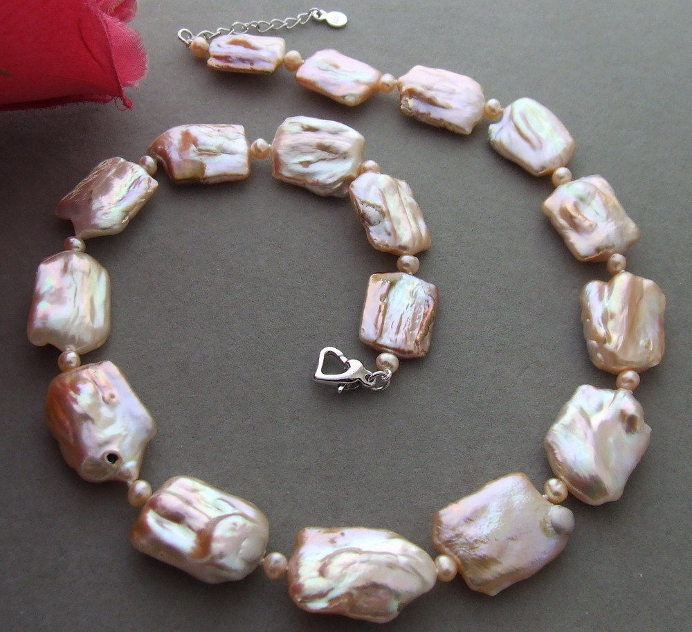 new Natural irregular 18x25mm Pink Keshi Pearl necklace 20 inches