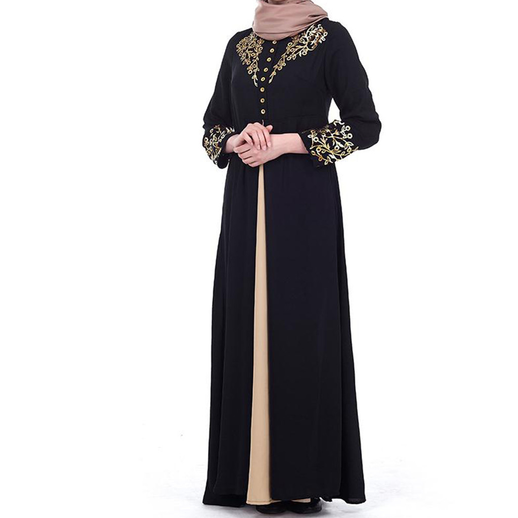 Womens Kids Embroidery Rhinestone Loose Abaya Muslim Islamic Maxi Kaftan Dress