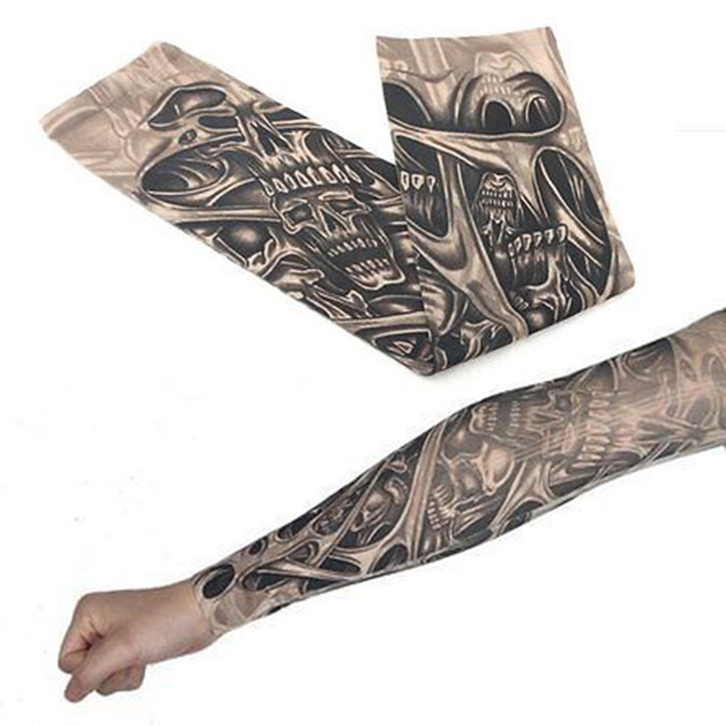 1pc Man Tattoo Arm Sleeve UV Running Cycling Sports Warmers Basketball Arm Sleeves Elasticity Compression Arm Warmer