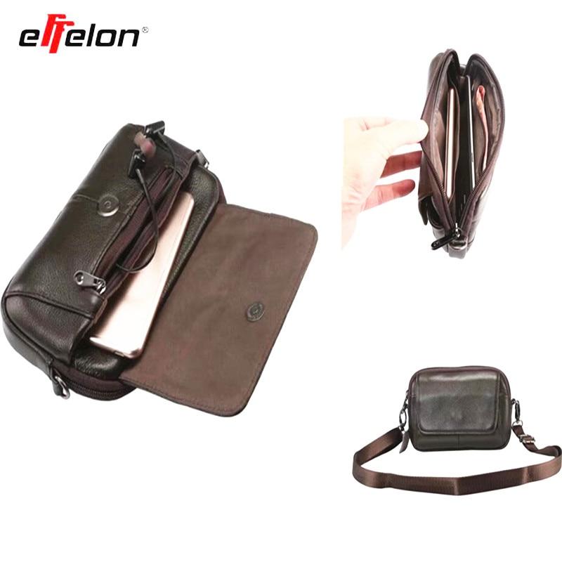 Effelon en cuir véritable taille sac ceinture pochette pour iphone Case sac à bandoulière pour moins de 6.5 ''téléphones intelligents mode hommes sac à main