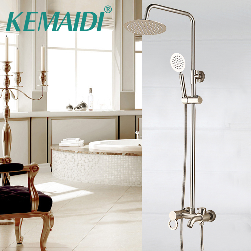 KEMAIDI Shower Faucet Set Luxury Bathroom Nickel Brushed Brass Single Ceramic Handle Tub Mixer Hand Shower