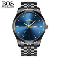 ANANGELA BOS Business Thin Black Watch Men Luxury Famous Brand Tops Wrist Watch Waterproof Calendar Luminous relojes para hombre