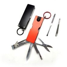 Mini Fashion Keychain Swiss Knife LED LED Ear Cleaner Nail Clippers Pocket Key Ring earpick Portable Key Fold Multi Functional