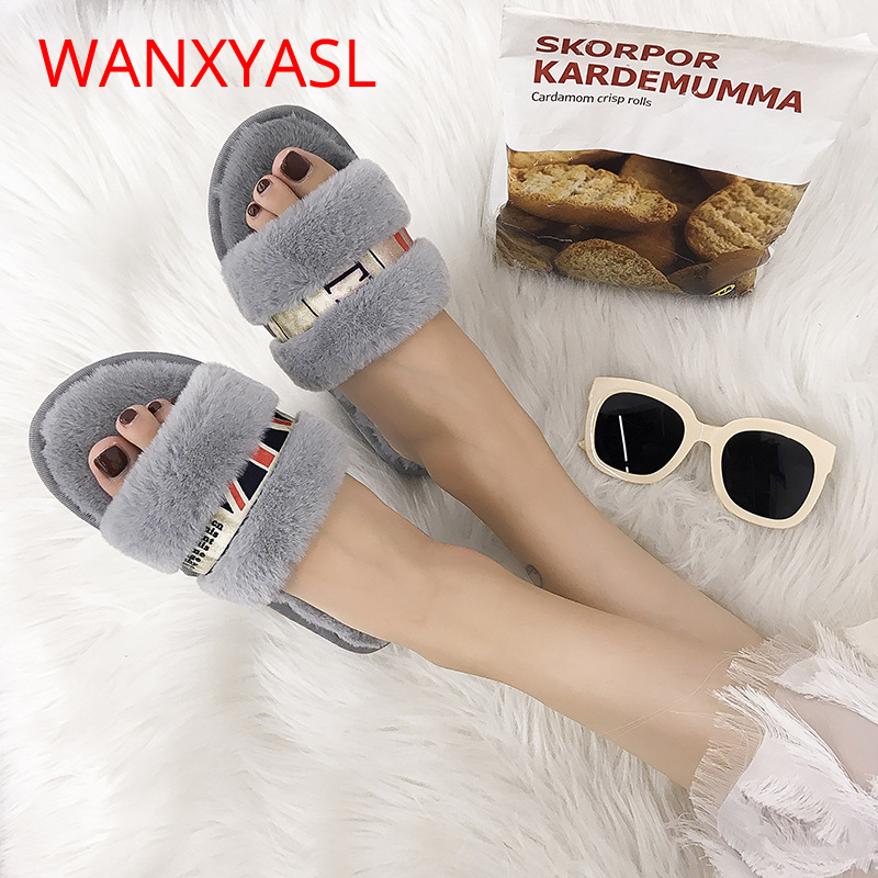 Winter Indoor Slippers 2018 Plush Indoor and Outdoor Slippers Female Non-slip Fashion Bow Flat with Home Slippers Women Shoes concise platform and bow design slippers for women