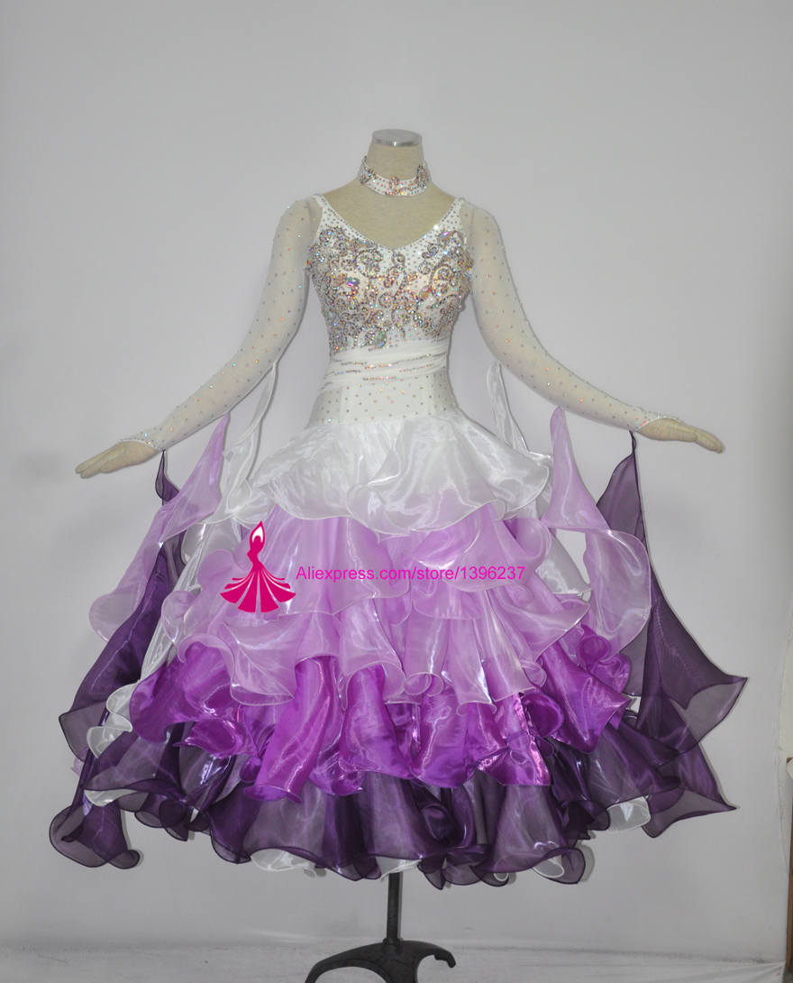 Ballroom font b Dance b font Costume Women High Quality White Waltz font b Tango b