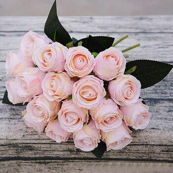 18pcs/lots Artificial Rose Flowers Wedding bouquet White Pink Thai Royal Rose Silk flowers Home Decoration Wedding Party Decor