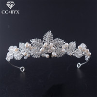 CC Tiaras And Crowns Pearl Leaf Design Hairbands Crystal Wedding Hair Accessories For Women Bride Engagement